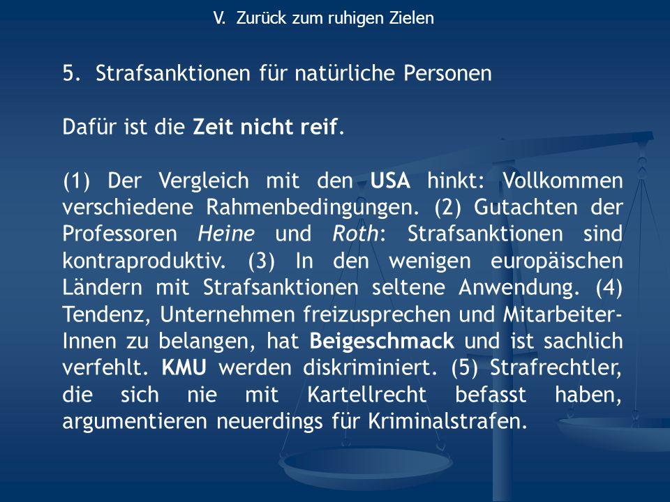 5.Strafsanktionen für natürliche Personen Dafür ist die Zeit nicht reif. (1) Der Vergleich mit den USA hinkt: Vollkommen verschiedene Rahmenbedingunge