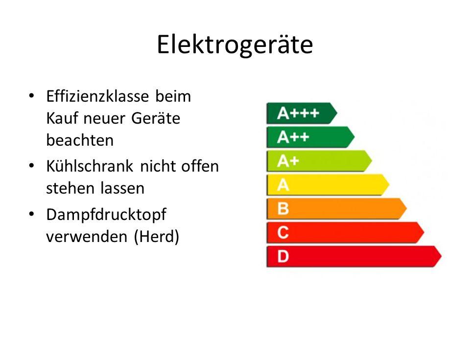 Elektrogeräte Effizienzklasse beim Kauf neuer Geräte beachten Kühlschrank nicht offen stehen lassen Dampfdrucktopf verwenden (Herd)
