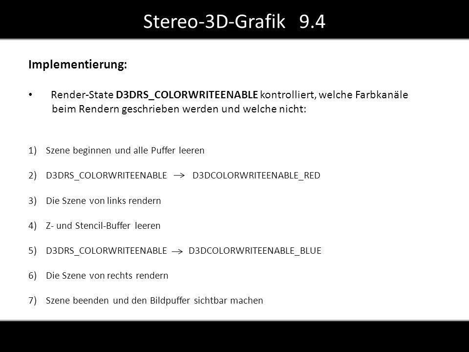 Implementierung: Render-State D3DRS_COLORWRITEENABLE kontrolliert, welche Farbkanäle beim Rendern geschrieben werden und welche nicht: 1)Szene beginnen und alle Puffer leeren 2)D3DRS_COLORWRITEENABLE D3DCOLORWRITEENABLE_RED 3)Die Szene von links rendern 4)Z- und Stencil-Buffer leeren 5)D3DRS_COLORWRITEENABLE D3DCOLORWRITEENABLE_BLUE 6)Die Szene von rechts rendern 7)Szene beenden und den Bildpuffer sichtbar machen Stereo-3D-Grafik 9.4