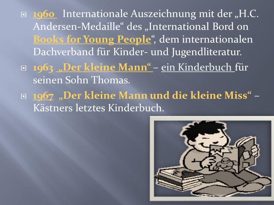 1946 Kästner gibt bis zum Sommer 1948 die Jugendzeitschrift Pinguin heraus. 1947 Jella Lepman gewinnt Kästner für die Abfassung des pazifistischen Buc