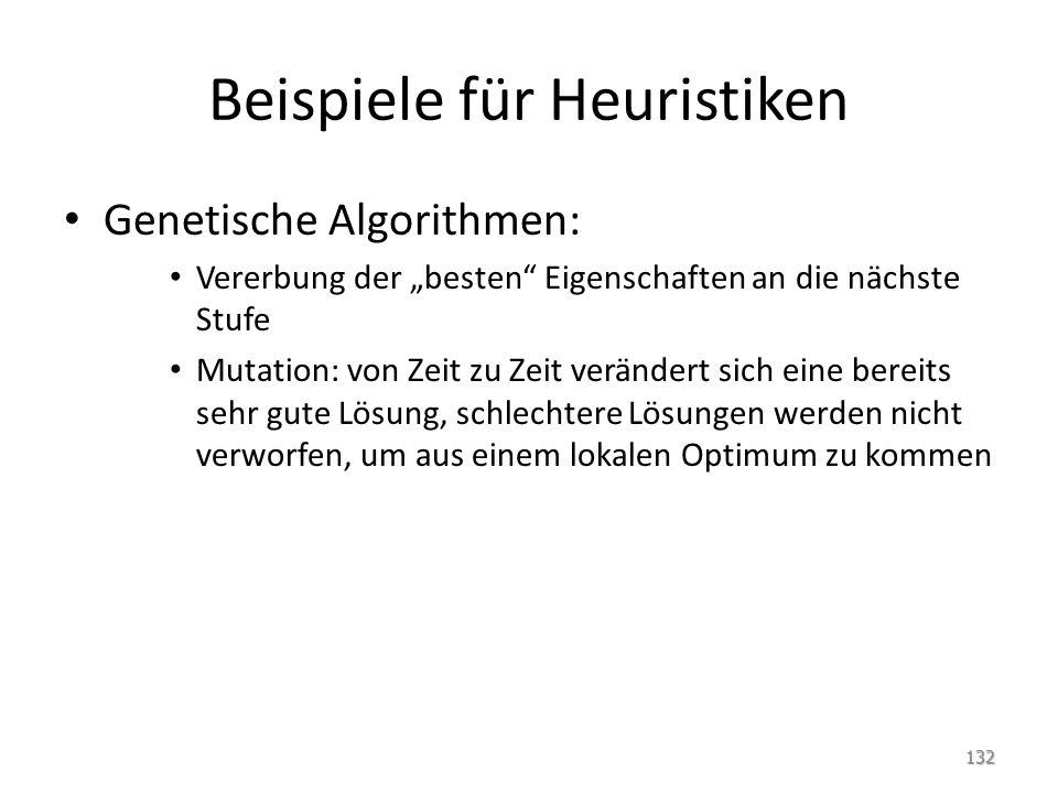 Beispiele für Heuristiken Genetische Algorithmen: Vererbung der besten Eigenschaften an die nächste Stufe Mutation: von Zeit zu Zeit verändert sich eine bereits sehr gute Lösung, schlechtere Lösungen werden nicht verworfen, um aus einem lokalen Optimum zu kommen 132
