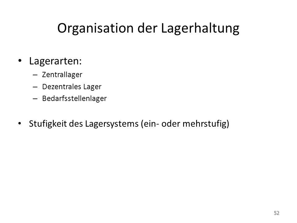 Organisation der Lagerhaltung Lagerarten: – Zentrallager – Dezentrales Lager – Bedarfsstellenlager Stufigkeit des Lagersystems (ein- oder mehrstufig) 52