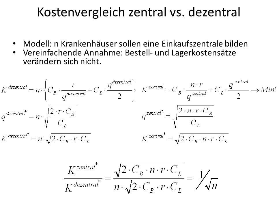 Kostenvergleich zentral vs.