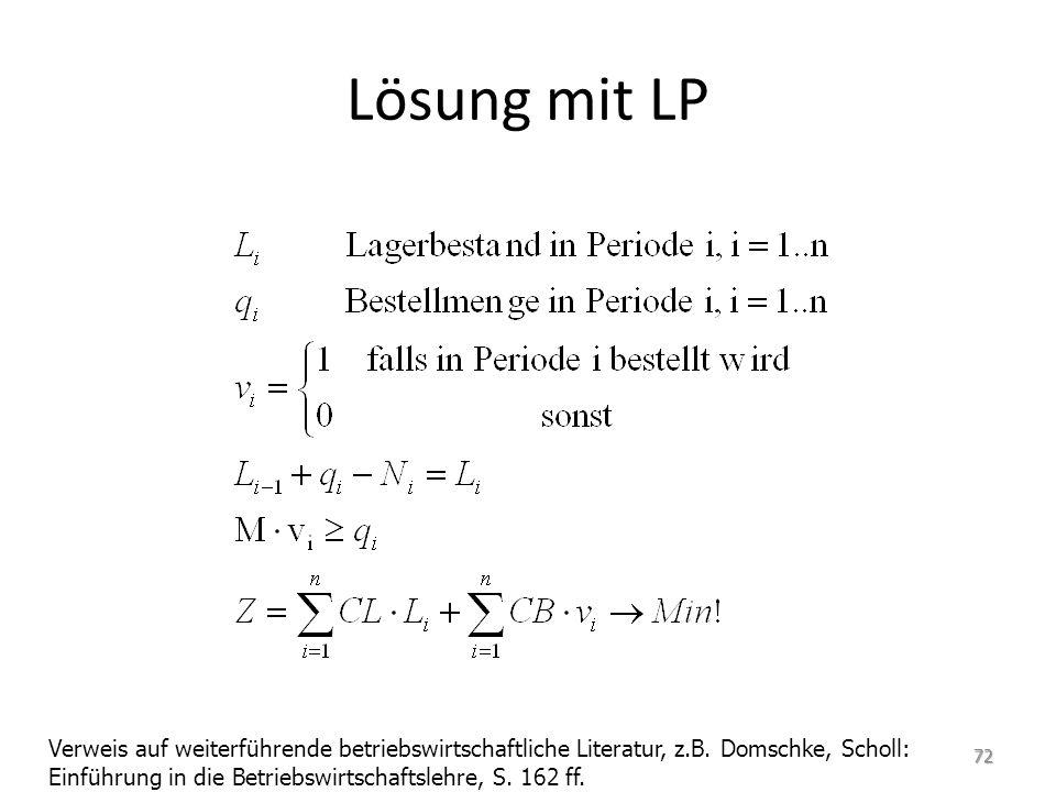 Lösung mit LP Verweis auf weiterführende betriebswirtschaftliche Literatur, z.B.