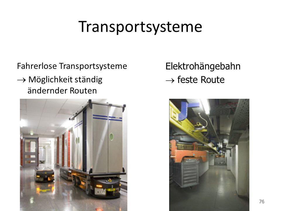Transportsysteme Fahrerlose Transportsysteme Möglichkeit ständig ändernder Routen Elektrohängebahn feste Route 76