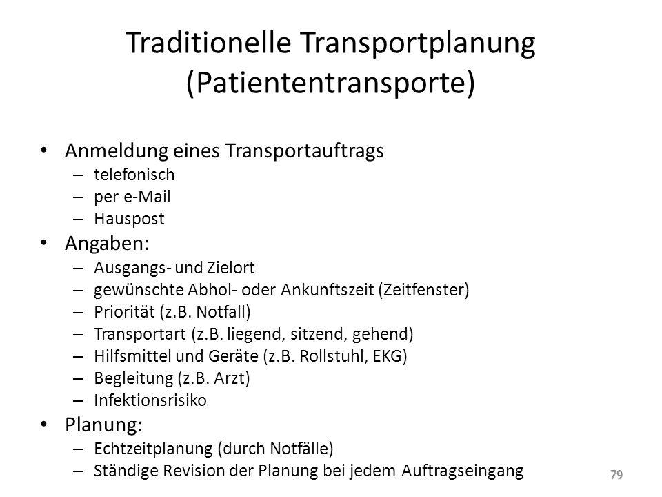 Traditionelle Transportplanung (Patiententransporte) Anmeldung eines Transportauftrags – telefonisch – per e-Mail – Hauspost Angaben: – Ausgangs- und Zielort – gewünschte Abhol- oder Ankunftszeit (Zeitfenster) – Priorität (z.B.