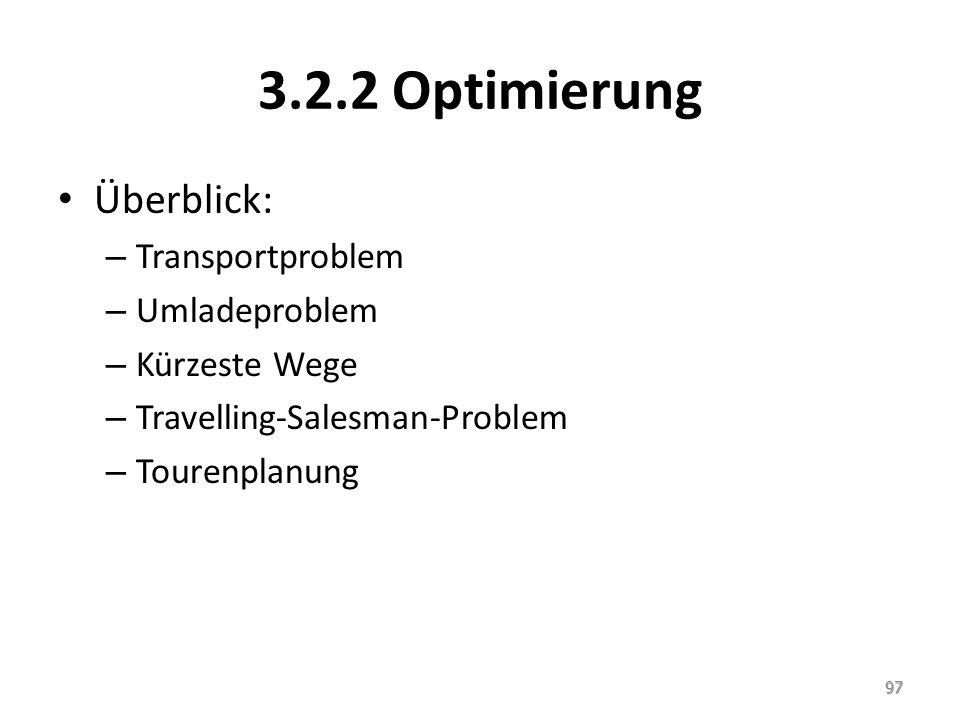 3.2.2 Optimierung Überblick: – Transportproblem – Umladeproblem – Kürzeste Wege – Travelling-Salesman-Problem – Tourenplanung 97