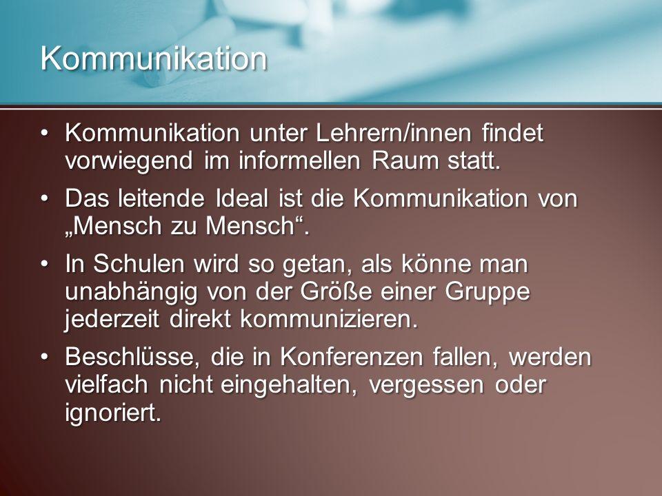 Kommunikation Kommunikation unter Lehrern/innen findet vorwiegend im informellen Raum statt.Kommunikation unter Lehrern/innen findet vorwiegend im informellen Raum statt.