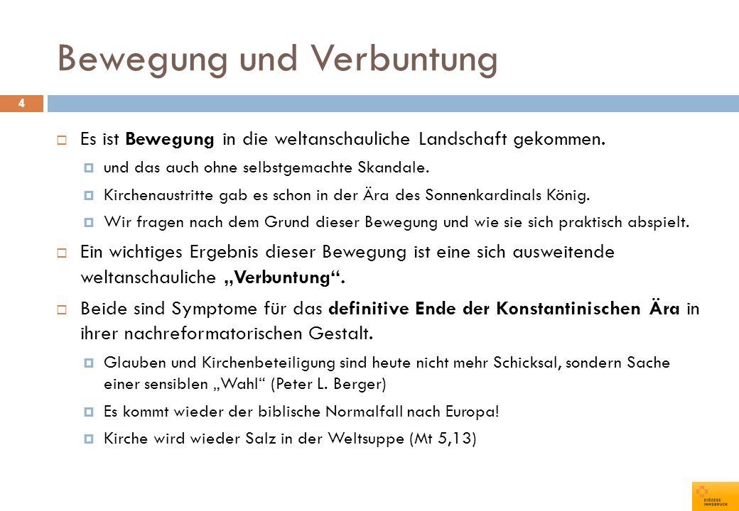 Islam 75 kämpferische Kulturchristenfriedliche KulturchristenReligionsdialog Wien (ED)56%27%17% Linz43%30%27% Graz-Seckau32%44%24% Salzburg25%36%40% St.