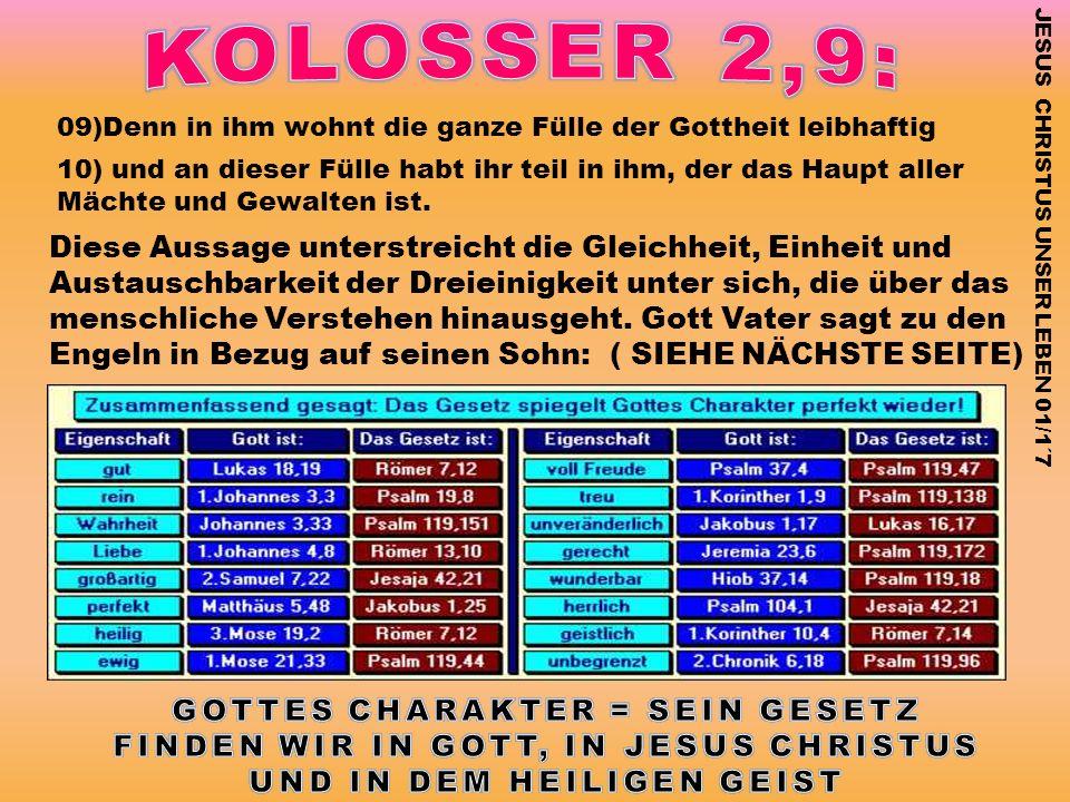 09)Denn in ihm wohnt die ganze Fülle der Gottheit leibhaftig 10) und an dieser Fülle habt ihr teil in ihm, der das Haupt aller Mächte und Gewalten ist