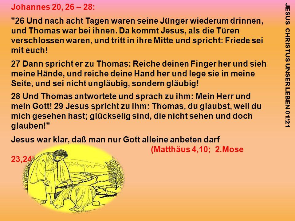 Was sagen die Jünger zu dieser Frage: Johannes 20, 26 – 28:
