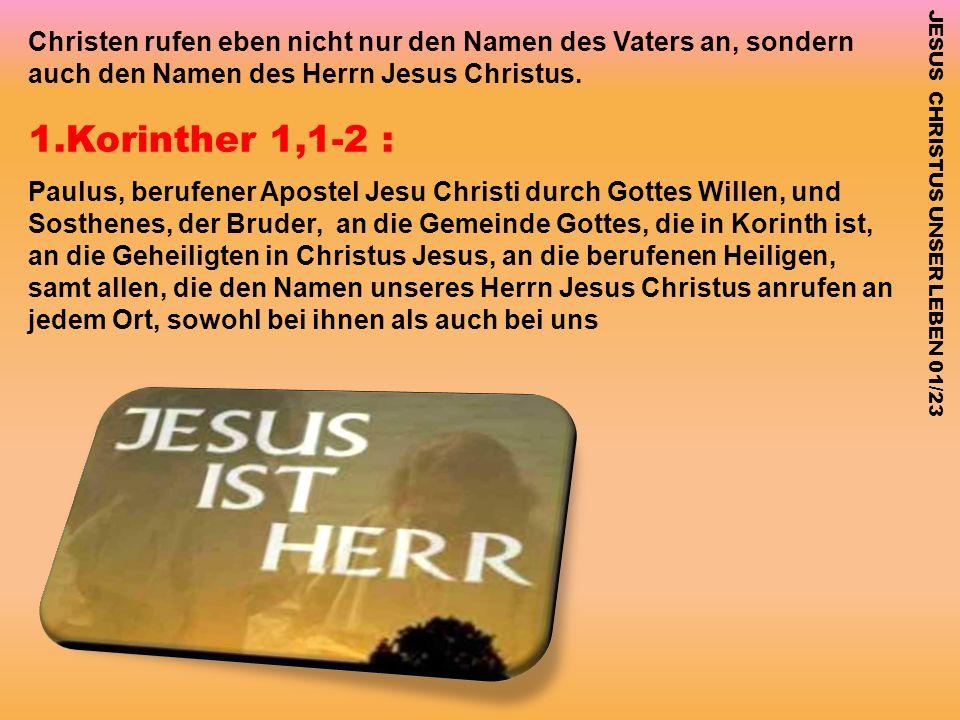 1.Korinther 1,1-2 : Paulus, berufener Apostel Jesu Christi durch Gottes Willen, und Sosthenes, der Bruder, an die Gemeinde Gottes, die in Korinth ist,