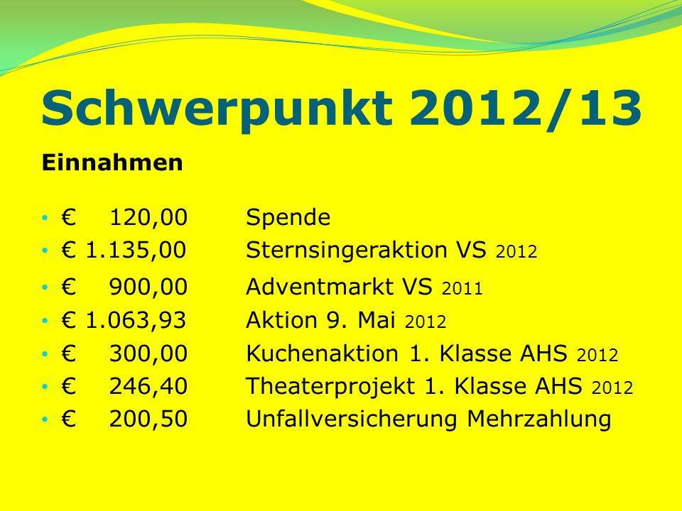 Schwerpunkt 2012/13 Einnahmen 120,00 Spende 1.135,00Sternsingeraktion VS 2012 900,00Adventmarkt VS 2011 1.063,93 Aktion 9.