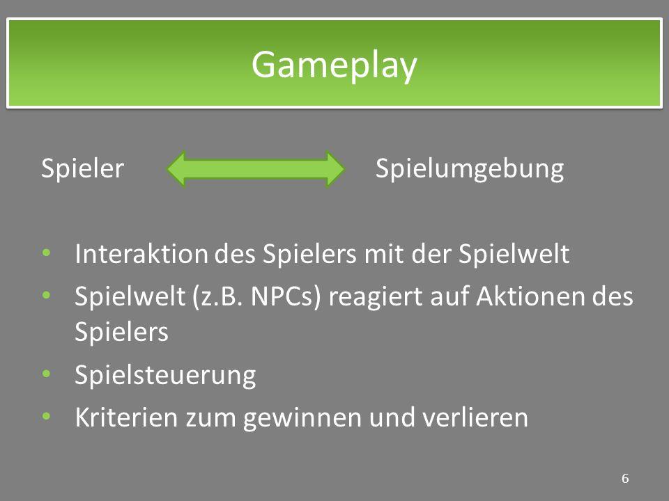 Gameplay Spieler Spielumgebung Interaktion des Spielers mit der Spielwelt Spielwelt (z.B. NPCs) reagiert auf Aktionen des Spielers Spielsteuerung Krit