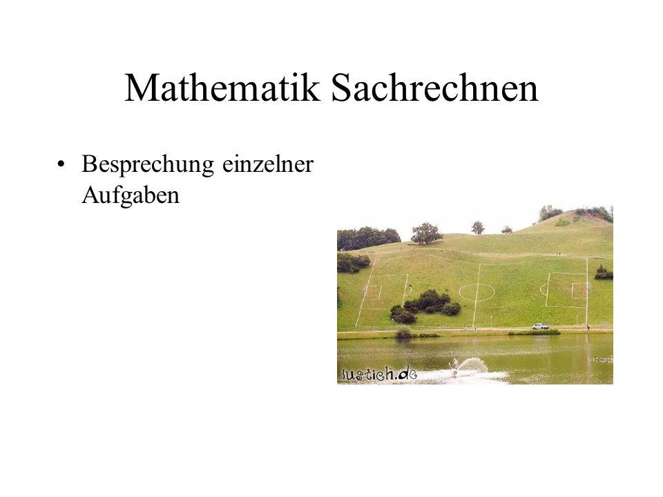 Mathematik Sachrechnen Besprechung einzelner Aufgaben