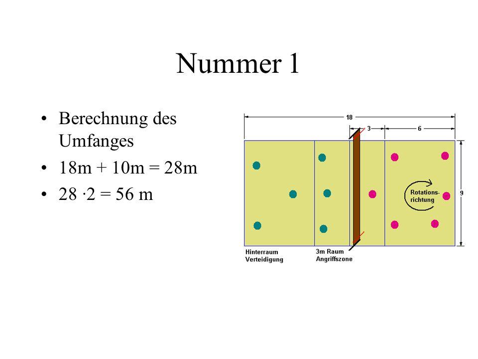Nummer 3 Fläche einer Spielhälfte 180 : 2 = 90 m 2 Division durch 6 = 15 m 2