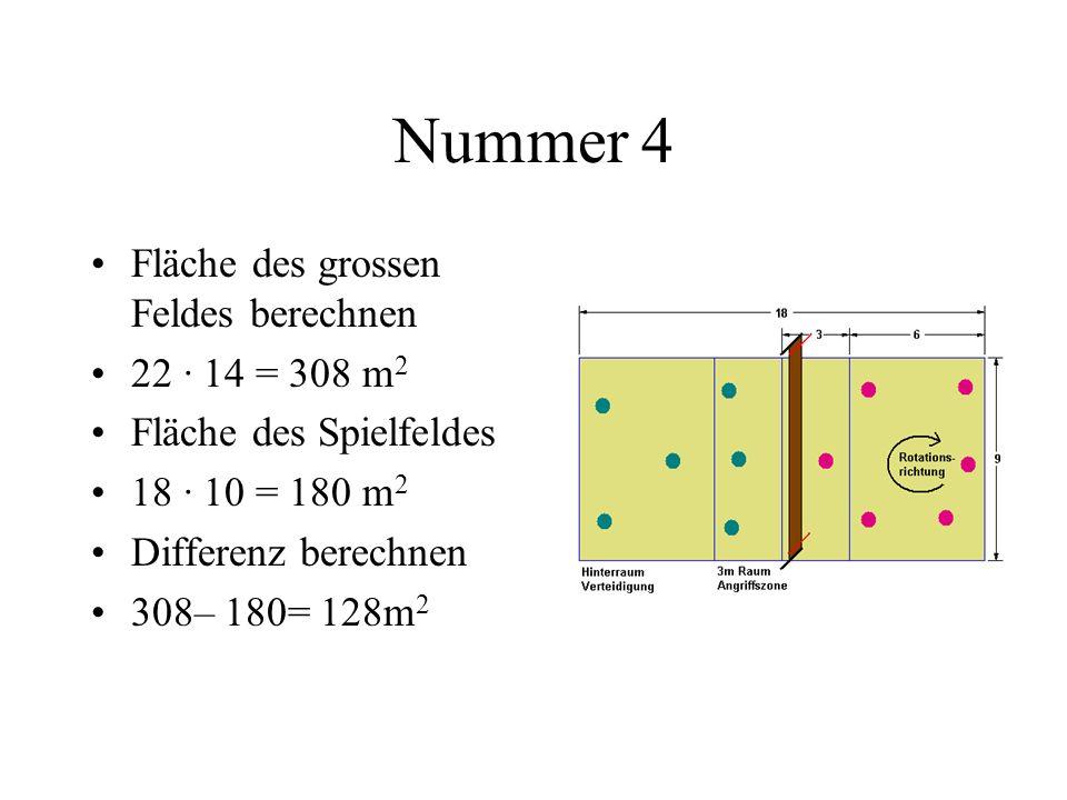 Nummer 8 Fläche Seitenwand 7 · 2,4 = 16,8 m 2 Verdoppeln = 33,6m 2 Fläche Frontwand 6 · 2,4 = 14,4m 2 Verdoppeln = 28,8m 2 Addieren 33,6m 2 + 28,8m 2 = 62,4m 2 Subtrahieren von Fenster und Türen 62,4m 2 – 7,6m 2 = 54,8m 2