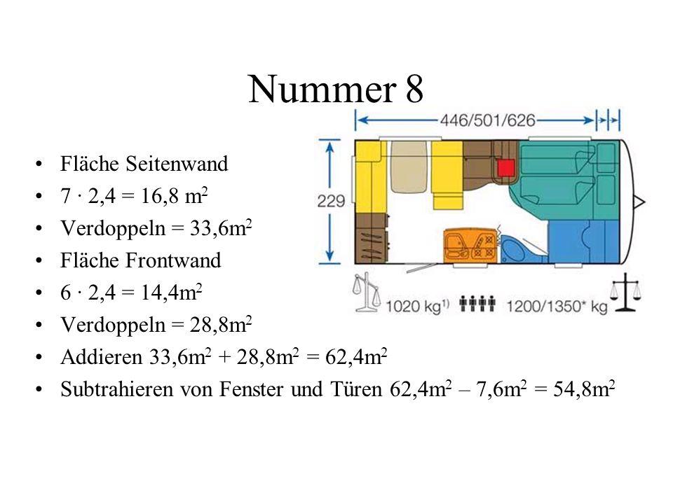 Nummer 8 Fläche Seitenwand 7 · 2,4 = 16,8 m 2 Verdoppeln = 33,6m 2 Fläche Frontwand 6 · 2,4 = 14,4m 2 Verdoppeln = 28,8m 2 Addieren 33,6m 2 + 28,8m 2