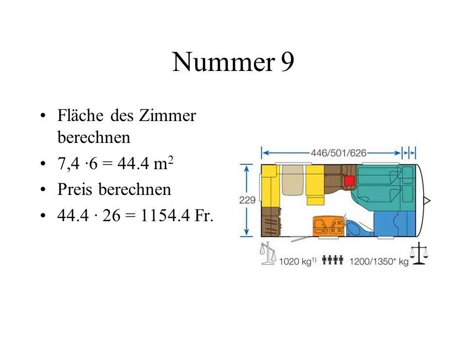 Nummer 10 Seitenlänge des Quadrates aus Umfang berechnen 240 : 4 = 60 cm Fläche bestimmen 60 · 60 = 3600 cm 2 6 Fenster berechnen 3600 · 6 = 21600 cm 2