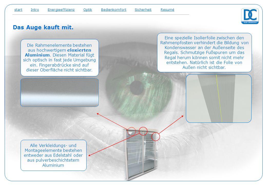 Das Auge kauft mit. optik Die Rahmenelemente bestehen aus hochwertigem eloxierten Aluminium. Diesen Material fügt sich optisch in fast jede Umgebung e