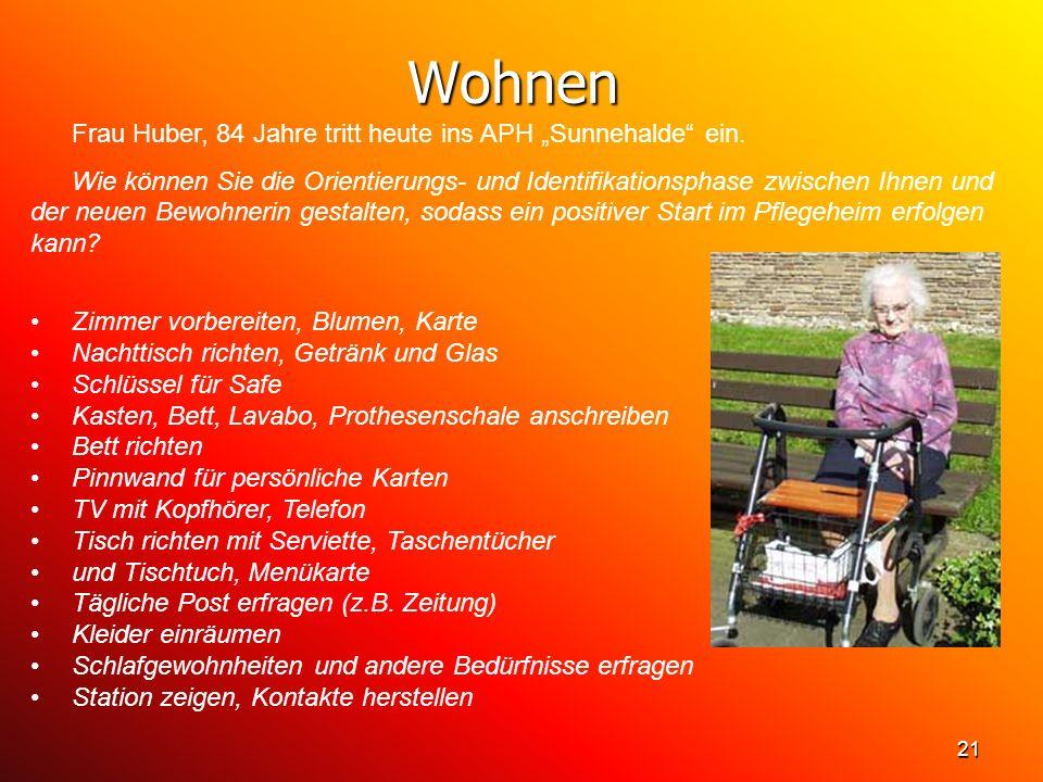 21 Wohnen Frau Huber, 84 Jahre tritt heute ins APH Sunnehalde ein. Wie können Sie die Orientierungs- und Identifikationsphase zwischen Ihnen und der n
