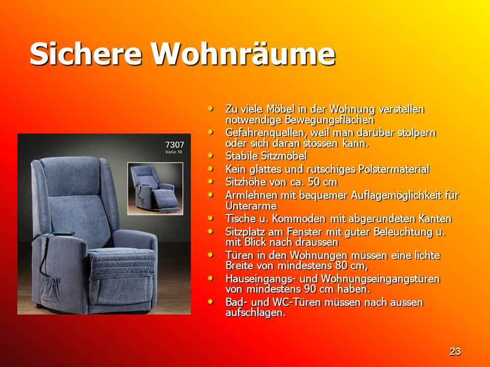 23 Sichere Wohnräume Zu viele Möbel in der Wohnung verstellen notwendige Bewegungsflächen Zu viele Möbel in der Wohnung verstellen notwendige Bewegung