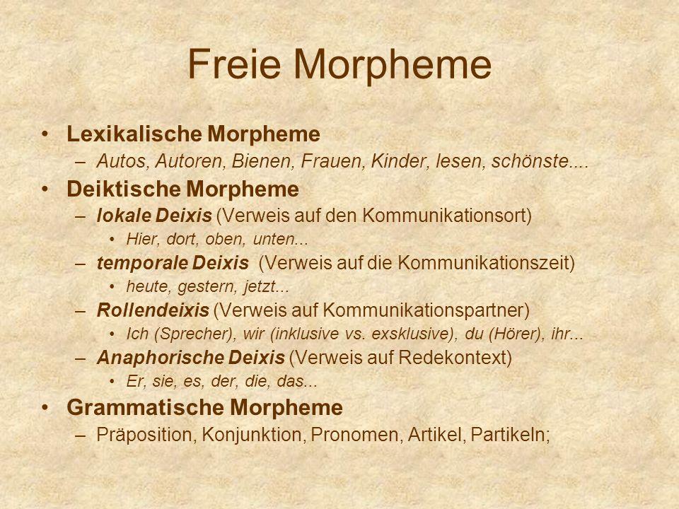 Freie Morpheme Lexikalische Morpheme –Autos, Autoren, Bienen, Frauen, Kinder, lesen, schönste.... Deiktische Morpheme –lokale Deixis (Verweis auf den