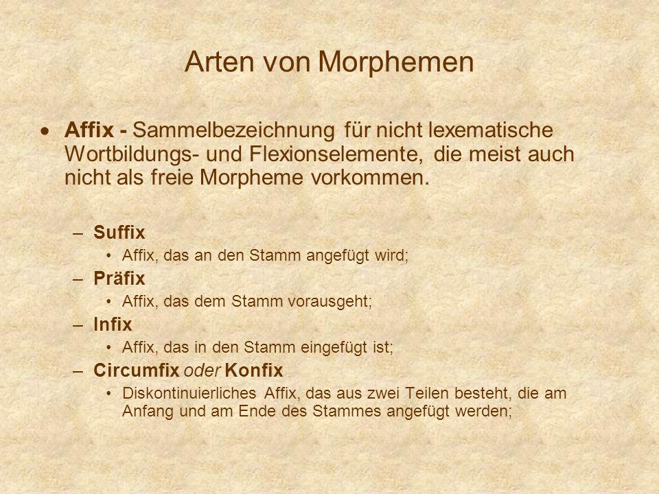 Arten von Morphemen Affix - Sammelbezeichnung für nicht lexematische Wortbildungs- und Flexionselemente, die meist auch nicht als freie Morpheme vorko