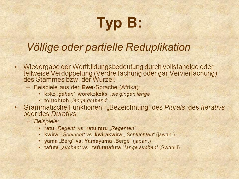 Typ B: Völlige oder partielle Reduplikation Wiedergabe der Wortbildungsbedeutung durch vollständige oder teilweise Verdoppelung (Verdreifachung oder g