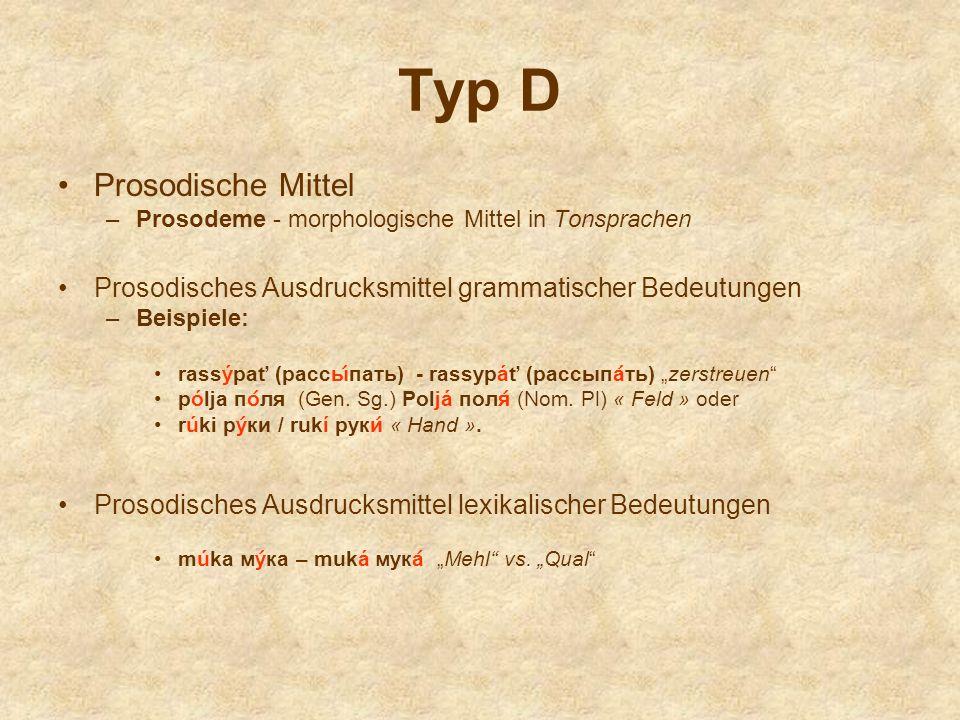 Typ D Prosodische Mittel –Prosodeme - morphologische Mittel in Tonsprachen Prosodisches Ausdrucksmittel grammatischer Bedeutungen –Beispiele: rassýpať