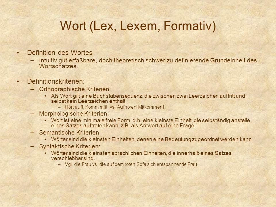 Wort (Lex, Lexem, Formativ) Definition des Wortes –Intuitiv gut erfaßbare, doch theoretisch schwer zu definierende Grundeinheit des Wortschatzes. Defi