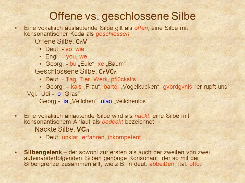 Offene vs. geschlossene Silbe Eine vokalisch auslautende Silbe gilt als offen, eine Silbe mit konsonantischer Koda als geschlossen. –Offene Silbe: C n