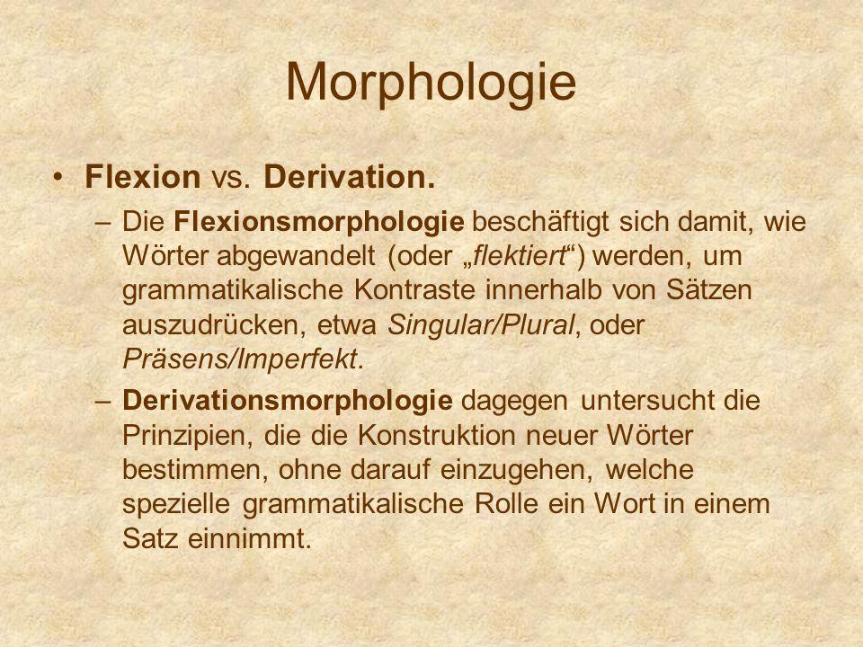 Morphologie Flexion vs. Derivation. –Die Flexionsmorphologie beschäftigt sich damit, wie Wörter abgewandelt (oder flektiert) werden, um grammatikalisc