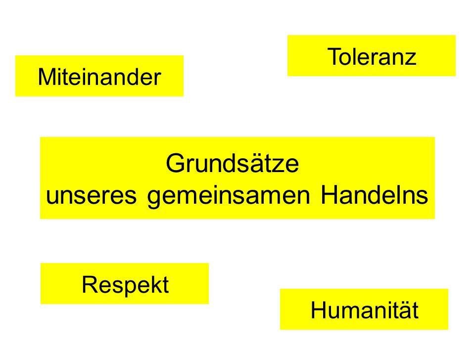 Miteinander Humanität Respekt Toleranz Grundsätze unseres gemeinsamen Handelns