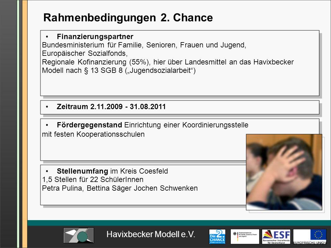 Rahmenbedingungen 2. Chance Fördergegenstand Einrichtung einer Koordinierungsstelle mit festen Kooperationsschulen Zeitraum 2.11.2009 - 31.08.2011 Ste