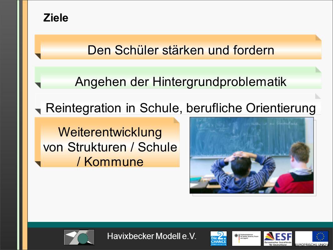 Havixbecker Modell e.V. Ziele Weiterentwicklung von Strukturen / Schule / Kommune Reintegration in Schule, berufliche Orientierung Angehen der Hinterg