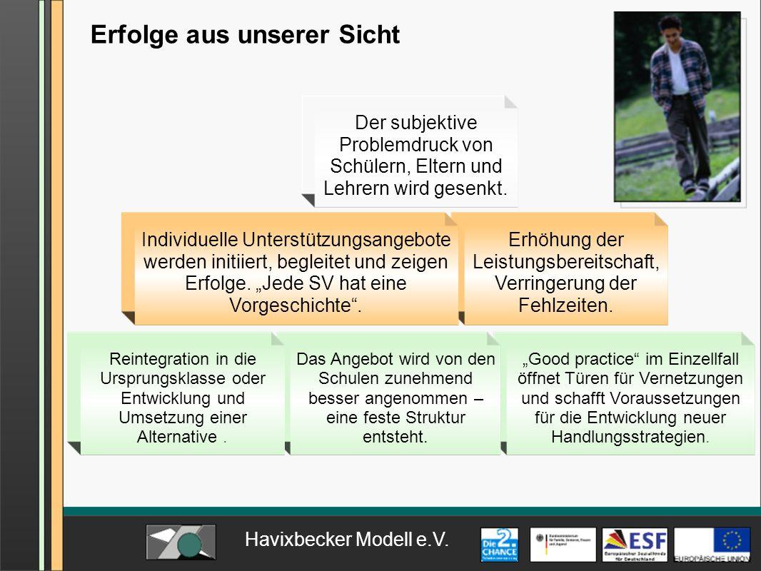 Havixbecker Modell e.V. Erfolge aus unserer Sicht Good practice im Einzellfall öffnet Türen für Vernetzungen und schafft Voraussetzungen für die Entwi