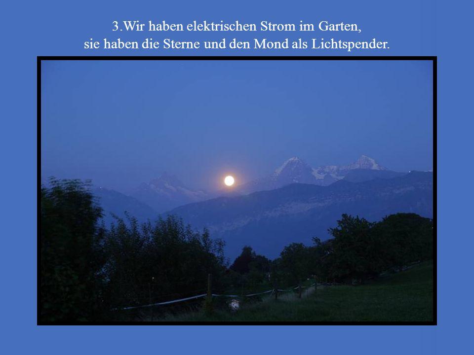 3.Wir haben elektrischen Strom im Garten, sie haben die Sterne und den Mond als Lichtspender.