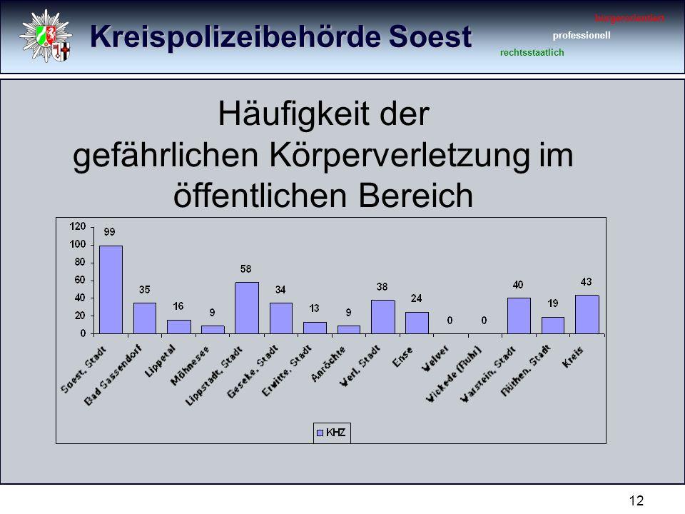 Kreispolizeibehörde Soest bürgerorientiert professionell rechtsstaatlich 12 Häufigkeit der gefährlichen Körperverletzung im öffentlichen Bereich