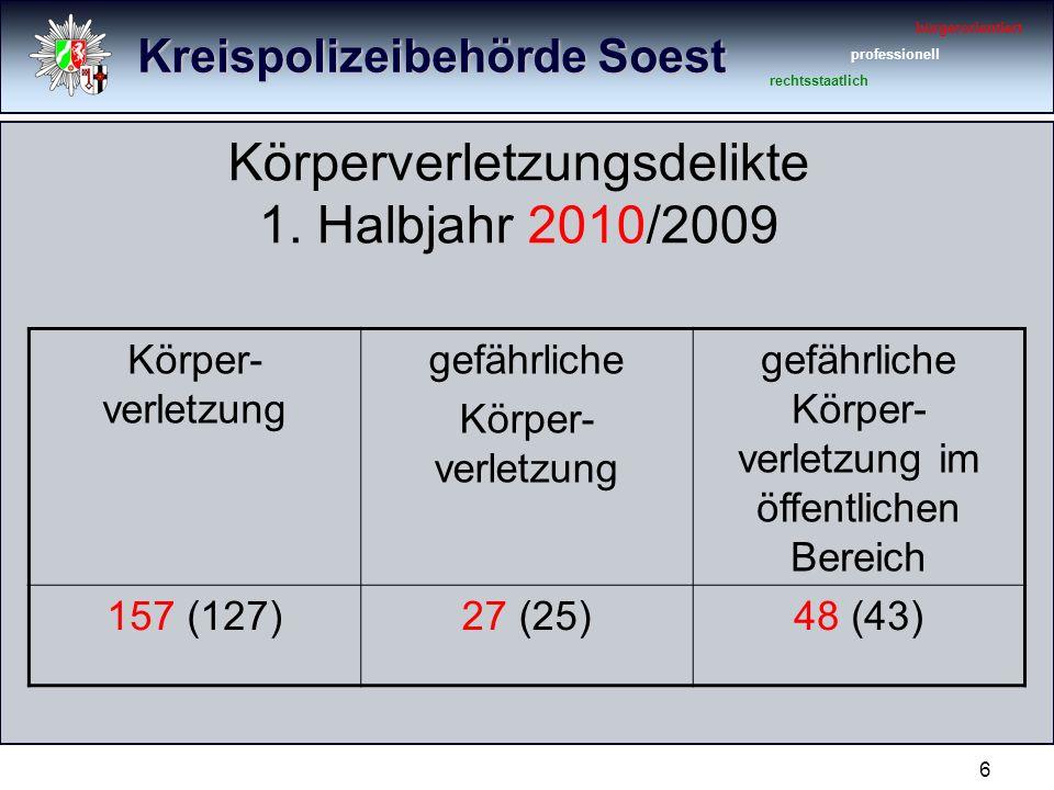 Kreispolizeibehörde Soest bürgerorientiert professionell rechtsstaatlich 6 Körperverletzungsdelikte 1.