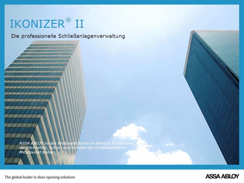 Allgemein IKONIZER ® II ist das komfortable Schließanlagen- verwaltungsprogramm für den PC zur Verwaltung von Schließanlagen.
