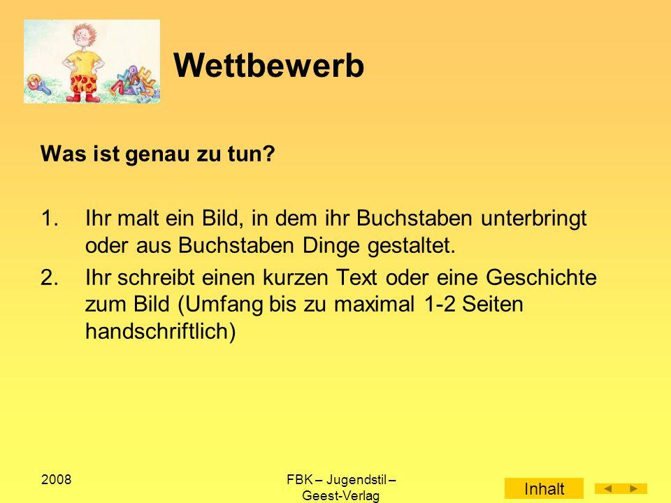2008FBK – Jugendstil – Geest-Verlag jugendstil Die Landesarbeitsgemeinschaft Jugend und Literatur wurde als gemeinnützige Einrichtung 1978 gegründet, um auf Landesebene literarische Betätigung und Bildung in der Jugendarbeit und Jugendbildung anzuregen und zu fördern.