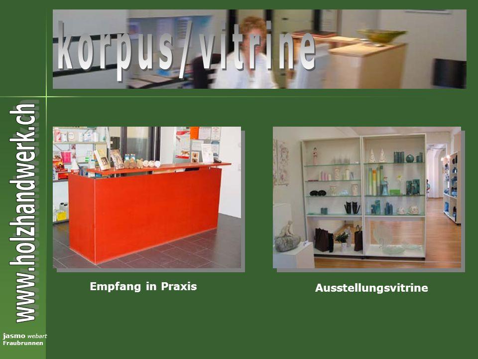 jasmo webart Fraubrunnen Empfang in Praxis Ausstellungsvitrine