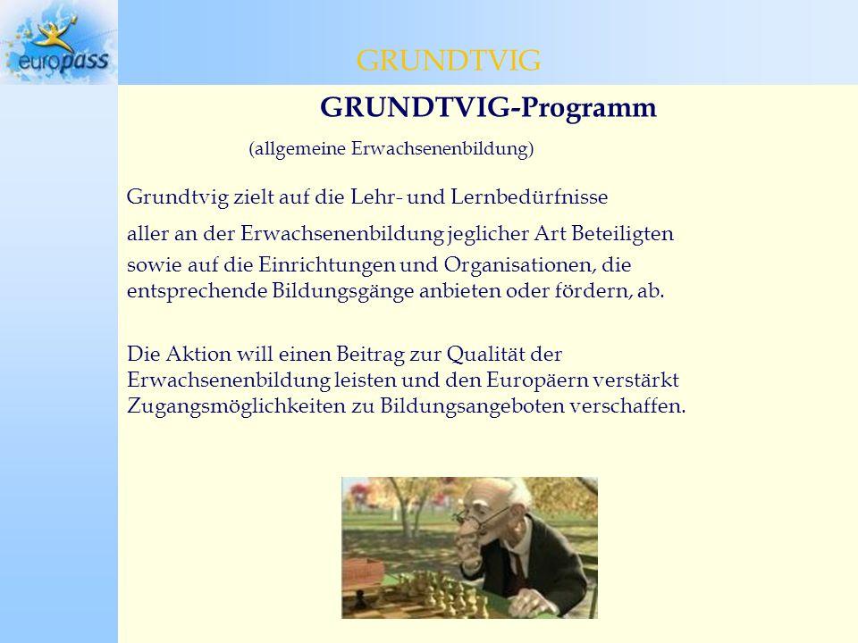GRUNDTVIG-Programm (allgemeine Erwachsenenbildung) Grundtvig zielt auf die Lehr- und Lernbedürfnisse aller an der Erwachsenenbildung jeglicher Art Beteiligten sowie auf die Einrichtungen und Organisationen, die entsprechende Bildungsgänge anbieten oder fördern, ab.
