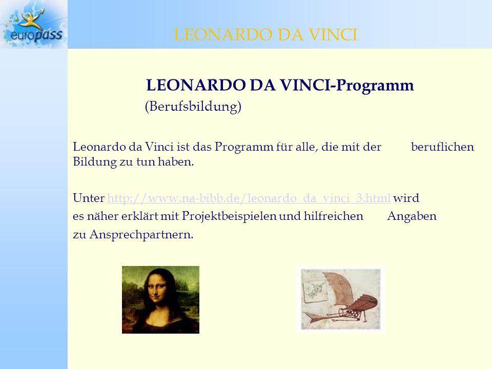 LEONARDO DA VINCI-Programm (Berufsbildung) Leonardo da Vinci ist das Programm für alle, die mit der beruflichen Bildung zu tun haben.