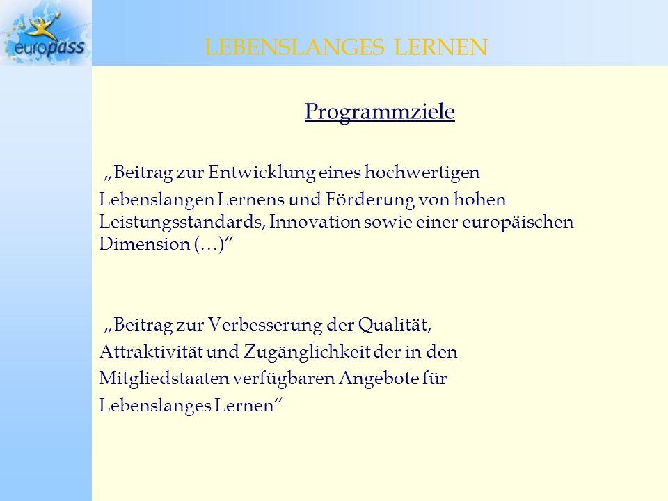 Programmziele Beitrag zur Entwicklung eines hochwertigen Lebenslangen Lernens und Förderung von hohen Leistungsstandards, Innovation sowie einer europäischen Dimension (…) Beitrag zur Verbesserung der Qualität, Attraktivität und Zugänglichkeit der in den Mitgliedstaaten verfügbaren Angebote für Lebenslanges Lernen LEBENSLANGES LERNEN