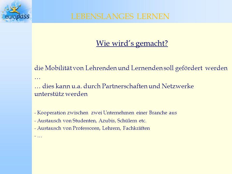 Programmstruktur COMENIUS > 13% * GRUNDTVIG > 4% ERASMUS > 40% LEONARDO DA VINCI > 25% LEBENSLANGES LERNEN * Budgetanteil LEBENSLANGES LERNEN ~ 7 Mrd.