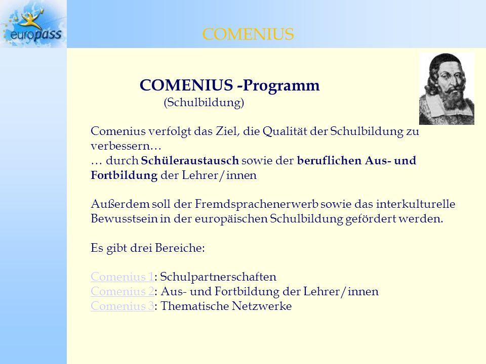 COMENIUS -Programm (Schulbildung) Comenius verfolgt das Ziel, die Qualität der Schulbildung zu verbessern… … durch Schüleraustausch sowie der beruflichen Aus- und Fortbildung der Lehrer/innen Außerdem soll der Fremdsprachenerwerb sowie das interkulturelle Bewusstsein in der europäischen Schulbildung gefördert werden.