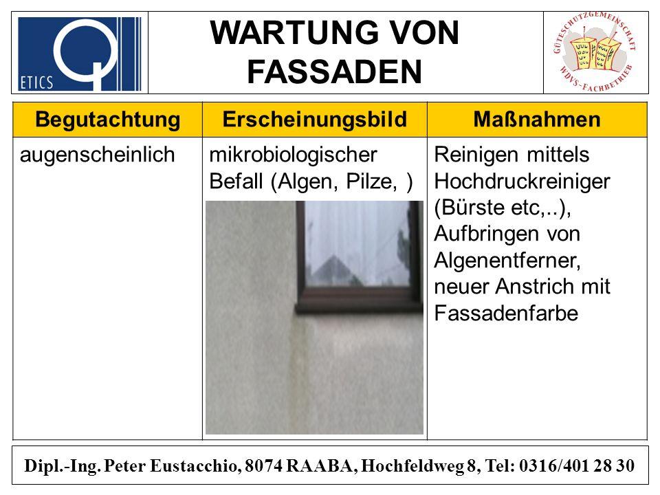 WARTUNG VON FASSADEN Dipl.-Ing. Peter Eustacchio, 8074 RAABA, Hochfeldweg 8, Tel: 0316/401 28 30 BegutachtungErscheinungsbildMaßnahmen augenscheinlich