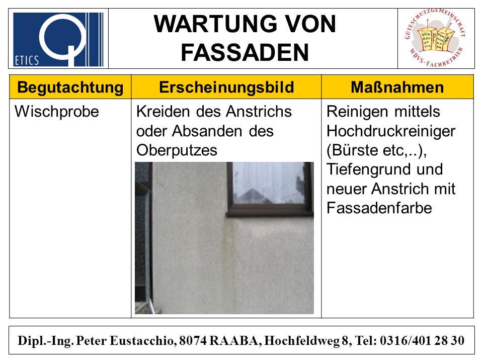 WARTUNG VON FASSADEN Dipl.-Ing. Peter Eustacchio, 8074 RAABA, Hochfeldweg 8, Tel: 0316/401 28 30 BegutachtungErscheinungsbildMaßnahmen WischprobeKreid